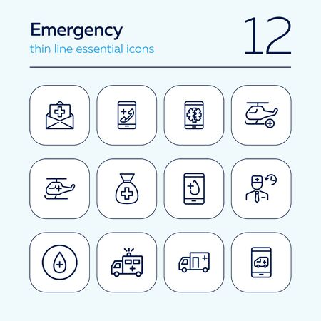 Emergency line icon set. Insurance, ambulance car, helicopter, call. Healthcare concept. Can be used for topics like medical help, aid, accident Stock Illustratie