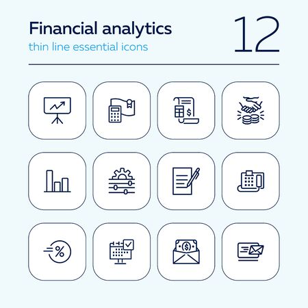 Financial analytics line icon set. Presentation, calculator, invoice. Business concept. Can be used for topics like loan, banking, dealing