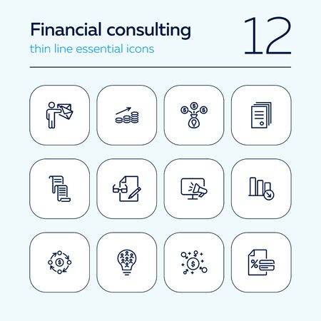 Financial consulting line icon set. Person, graph, paper, announcement. Finance concept. Can be used for topics like money, investment, advice, analysis