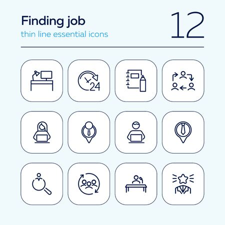 Finding job line icon set. Best worker, employee, workplace. Human resource concept. Can be used for topics like office, staff, personnel Иллюстрация