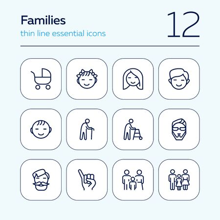 Families line icon set. Set of line icons on white background. Family concept. Girl, stroller, old man. Vector illustration can be used for topics like relationships, family, sociality