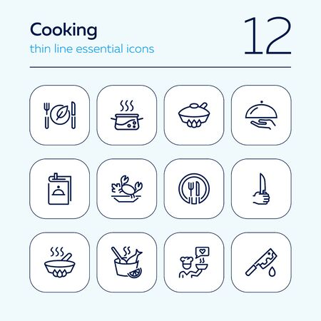 Cooking line icon set. Set of line icons on white background. Food concept. Plate, knife, chicken. Vector illustration can be used for topics like kitchen, food, cooking Иллюстрация