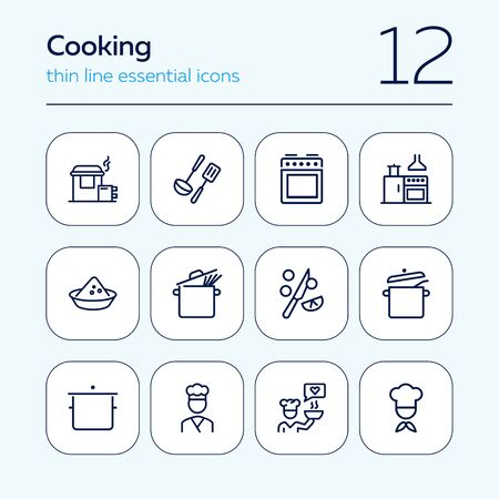 Cooking line icon set. Chief, pan, utensil, stove. Cooking concept. Can be used for topics like kitchen, restaurant, cafe  イラスト・ベクター素材