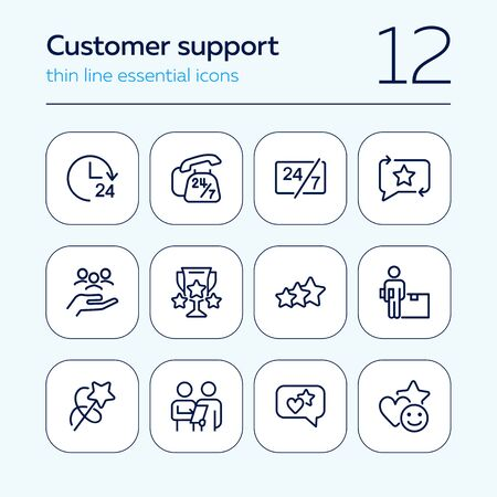 Customer support line icon set. Telephone, courier, order delivery. Service concept. Can be used for topics like feedback, online shopping, rating  イラスト・ベクター素材