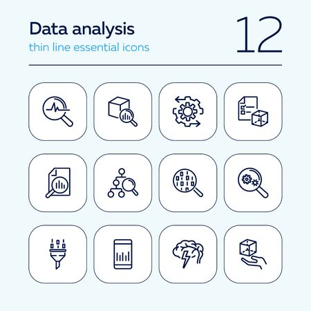 Data analysis line icon set. Binary code, graph, gear. Information technology concept. Can be used for topics like data management, programming, IT project Ilustração