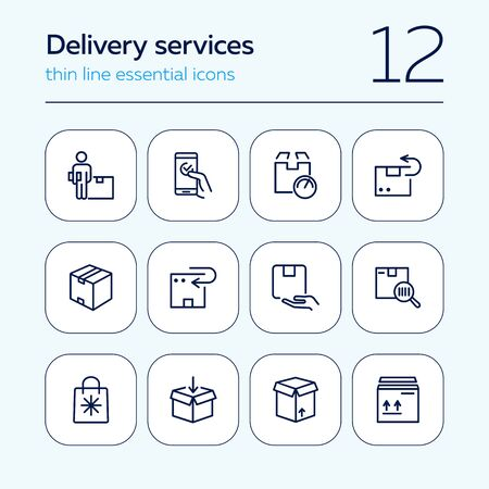Delivery services line icon set. Carton box, package, order. Delivery concept. Vector illsutration can be used for topics like post office, online shopping, logistic Ilustração