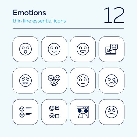 Emotions line icon set. Set of line icons on white background. Internet concept. Smile, angry, chat bot. Vector illustration can be used for web, forum, internet