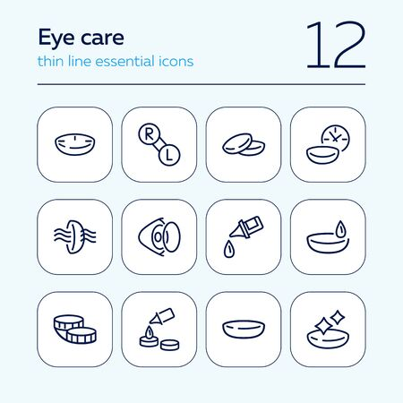 Eye care line icon set. Lens, container, solution. Vision concept. Can be used for topics like sight, ophthalmology, medicine Иллюстрация