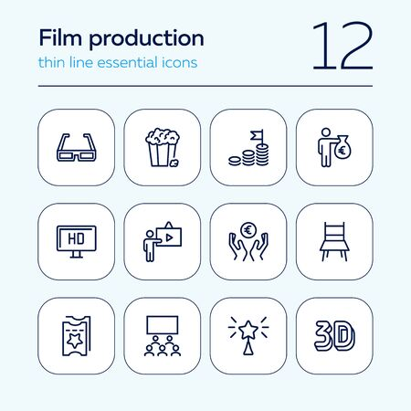 Film production line icon set. 3d glasses, presentation, hall, ticket. Movie industry concept. Can be used for topics like cinema, first night, premier, award Ilustracja