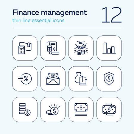 Finance management line icon set. Report, profit, insurance. Business concept. Can be used for topics like money, saving, revenue, investment Illusztráció