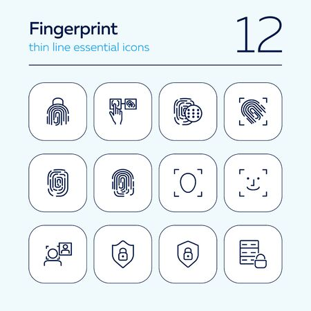 Fingerprint line icon set. Set of line icons on white background. Identification, personality, access. Safety concept. Vector illustration can be used for topics like data safety, program, security Фото со стока - 129787323