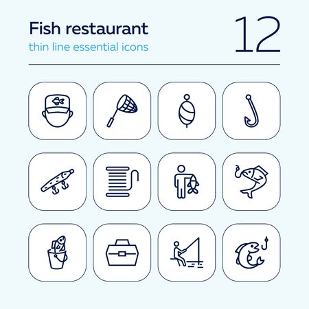 Fishing line icon set. Fisherman, net, hook. Fishery concept. Can be used for topics like catch, hobby, fishing trip
