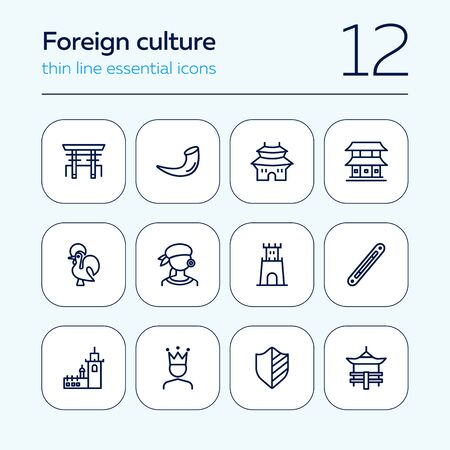 Foreign culture line icon set. Heraldry, tower, traditional building. Culture concept. Can be used for topics like travel, landmarks, national symbols
