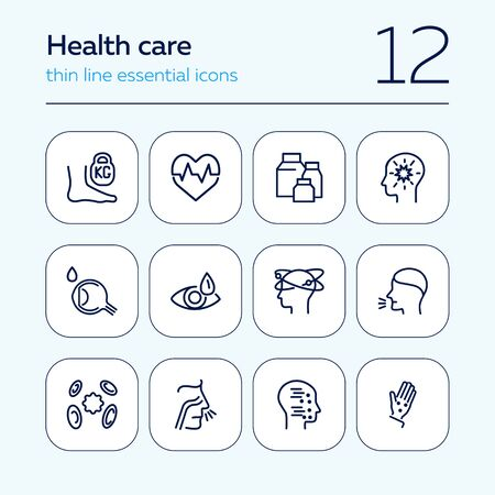 Health care line icon set. Heart disease, eye drops, vertigo, chickenpox. Healthcare concept. Can be used for topics like medicine, symptoms, illness
