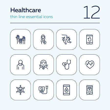 Healthcare line icon set. Pregnant woman, sore throat, test result. Medicine concept. Can be used for topics like medical consulting, examination, checking Ilustração