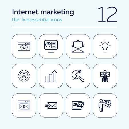Internet marketing icon set. Line icons collection on white background. Budget, optimization, e-mail. Start-up concept. Can be used for topics like business, management, targeting
