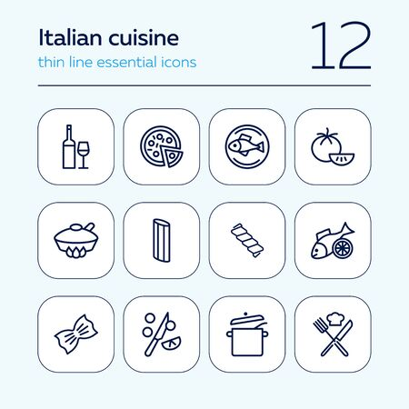 Italian cuisine line icon set. Wine, pizza, salmon. Food concept. Can be used for topics like healthy diet, restaurant menu, dinner, cooking Stockfoto - 129954871