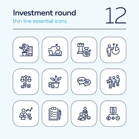 Investment round line icon set. Money, analysis, income. Startup concept. Can be used for topics like funding, capital, finance