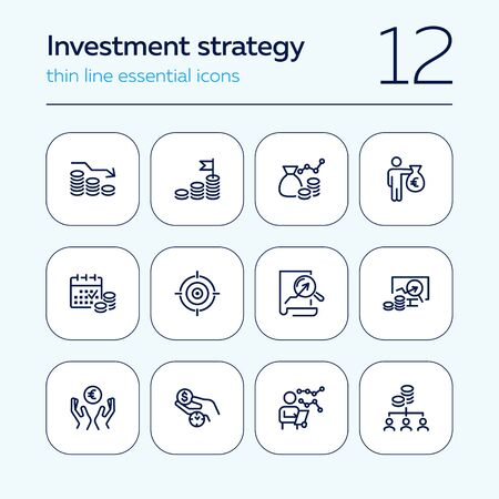Investment strategy line icon set. Analysis, graph, cash. Finance management concept. Can be used for topics like income, trade, business  イラスト・ベクター素材