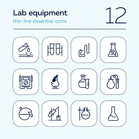 Lab equipment line icon set. Laboratory, beaker, microscope. Chemistry concept. Can be used for topics like science, research, medicine Ilustração