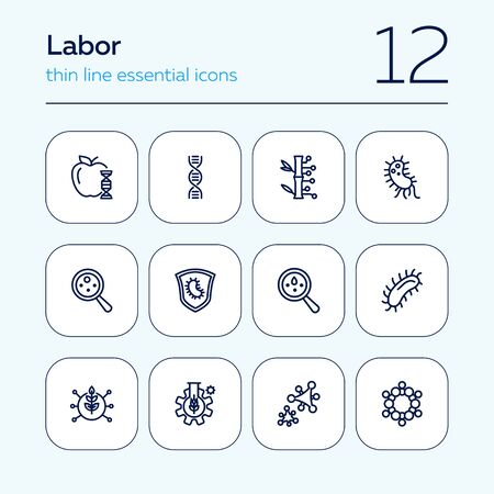 Lab research line icon set. Food, dna, bacteria. Science concept. Can be used for topics like genetics, microbiology, laboratory Ilustração
