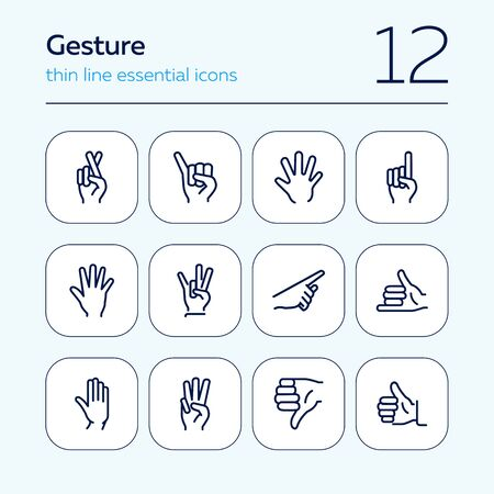 Gesture icon. Set of line icons on white background. Thumb up, open palm, direction. Hand sign concept. Vector illustration can be used for topics like communication, finger language, symbols Ilustração