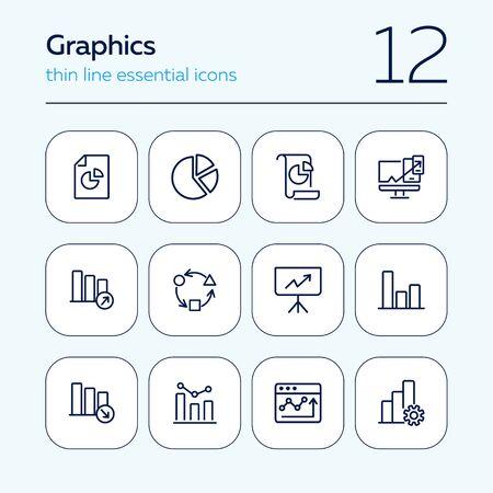 Graphics line icon set. Graph, chart, diagram. Analysis concept. Can be used for topics like marketing, statistics, report Illusztráció