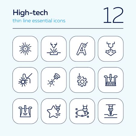 High precision technology. Set of line icons on white background. Modern lifestyle concept. Vector illustration can be used for industry, typing, advertisement Stok Fotoğraf - 129787967