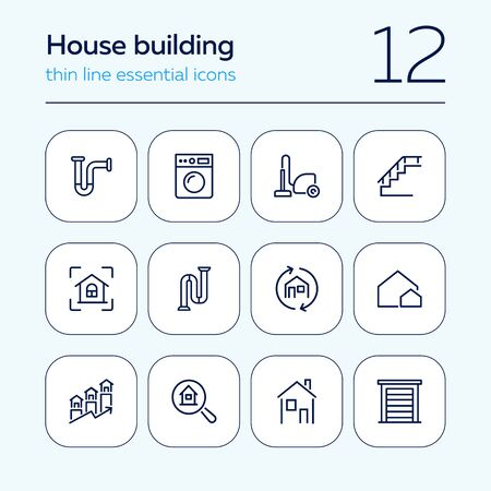 House building line icon set. Set of line icon on white background. Home concept. Washing machine, door, stair. Vector illustration can be used for topics like engineering, power