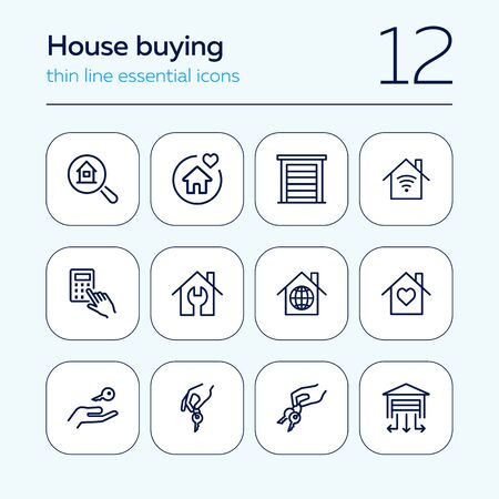 Hauskauf Linie Icon-Set. Reihe von Liniensymbolen auf weißem Hintergrund. Gebäude, Haus, Haus, Schlüssel. Hypothekenkonzept. Vektorillustration kann für Themen wie Soziales, Immobilien verwendet werden Vektorgrafik