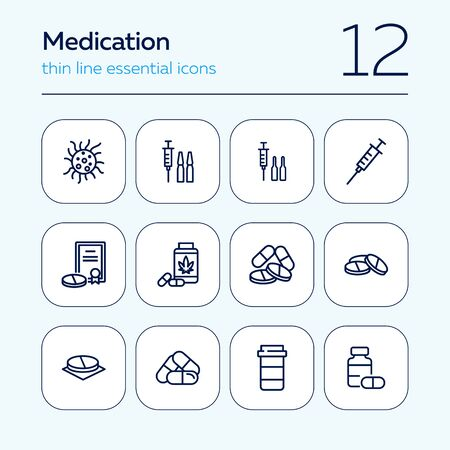 Medication line icon set. Syringe, pills, container, ampoules. Medicine concept. Can be used for topics like therapy, treatment, illness Ilustração