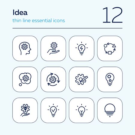 Idea line icon set. Bulb, gear, brain work. Processing concept. Can be used for topics like intelligence, business, startup 写真素材 - 129954909