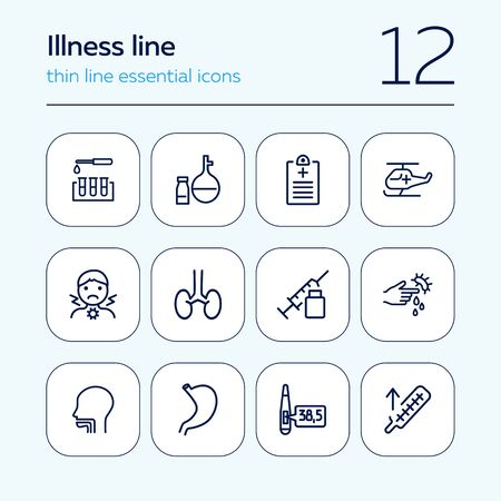 Illness line icon set. Analysis, sore throat, injection. Health care concept. Can be used for topics like medical help, lab tests, diagnostics