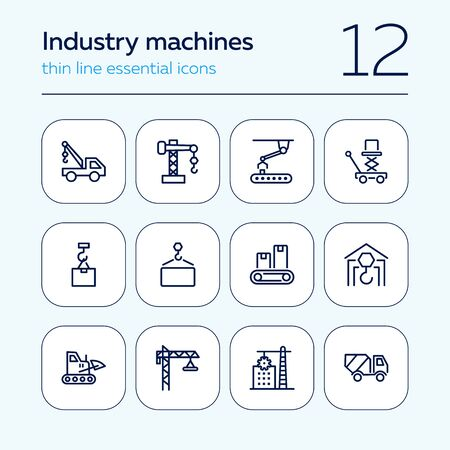 Industry machines line icon set. Concrete mixer, crane, site. Machinery concept. Can be used for topics like construction, robotic science, technology Иллюстрация