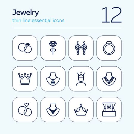 Jewelry line icon set. Earrings, necklace, engagement rings. Jewelry concept. Can be used for topics like fashion, accessory, store