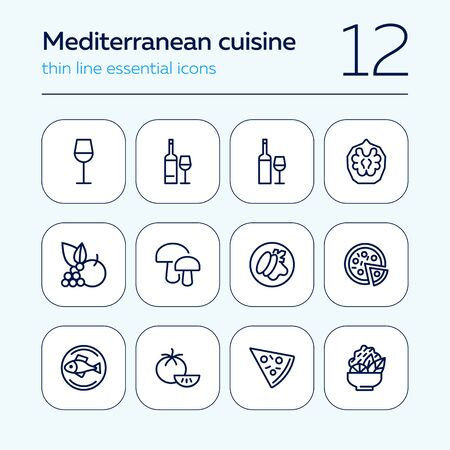 Mediterranean cuisine line icon set. Salad, pizza, tomato. Food concept. Can be used for topics like restaurant, cooking, menu 일러스트