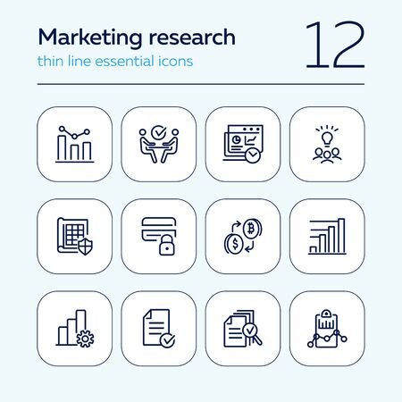 Marketing research line icon set. Graph, meeting, brainstorming. Business concept. Can be used for topics like analysis, startup, finance management
