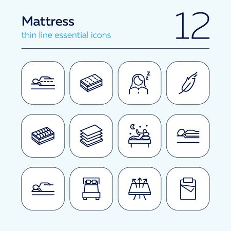 Mattress icon set. Line icons collection on white background. Customer, bed, comfort. Orthopedic furniture concept. Can be used for topics like bedroom, sleep, guarantee Stock Illustratie