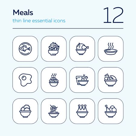 Meals line icons. Set of line icons on white background. Cooking concept. Salad, fish, chicken. Vector illustration can be used for topics like kitchen, cooking, restaurants 일러스트