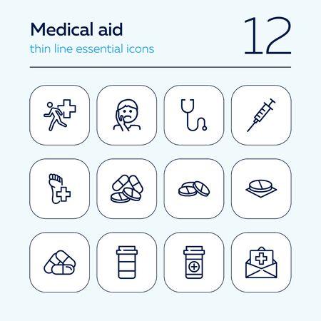 Medical aid line icon set. Stethoscope, syringe, pills. Medicine concept. Can be used for topics like medication, treatment, emergency Ilustração
