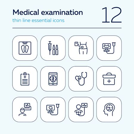 Medical examination line icon set. Screening, heart test, weight. Healthcare concept. Can be used for topics like hospital, medical consulting, disease prevention Imagens - 129955013