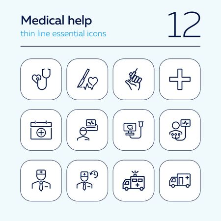 Medical help line icon set. Stethoscope, injection, doctor, ambulance. Medicine concept. Can be used for topics like hospital, first aid, emergency Ilustração