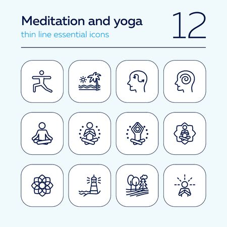 Meditation and yoga line icon set. Health, wellness, leisure. Buddhism concept. Can be used for topics like spirituality, peace, relaxation Иллюстрация