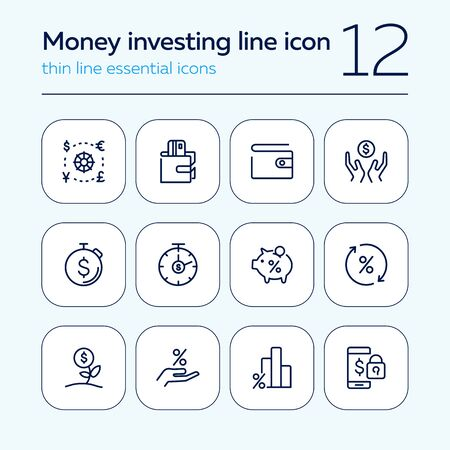 Money investing line icon set. Set of line icons on white background. Banking concept. Piggy bank, percent, purse. Vector illustration can be used for topics like investment, money, economy