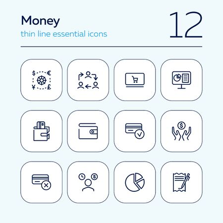 Money line icon set. Currency, credit card, wallet. Finance concept. Can be used for topics like salary, income, loan, banking