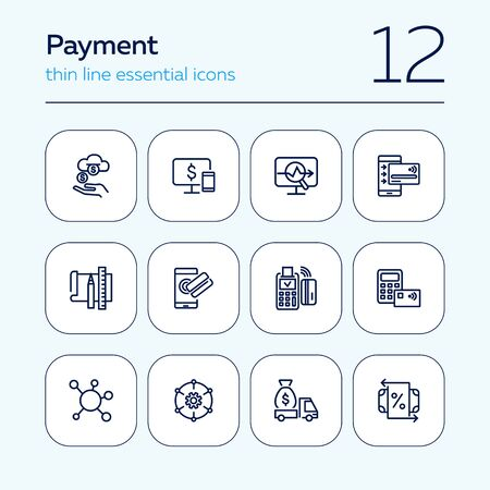 Payment line icon set. Income, smartphone, credit card, POS terminal. Business concept. Can be used for topics like online transaction, contactless cards, banking