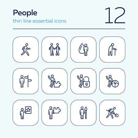 People line icon set. Character, occupation, specialist. Skills concept. Can be used for topics like job, individuality, strategy