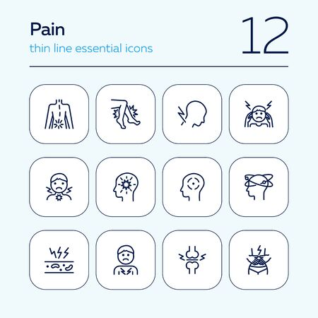Pain line icon set. Headache, sore throat, stomach ache. Health care concept. Can be used for topics like illness, disease, symptoms 写真素材 - 129955057