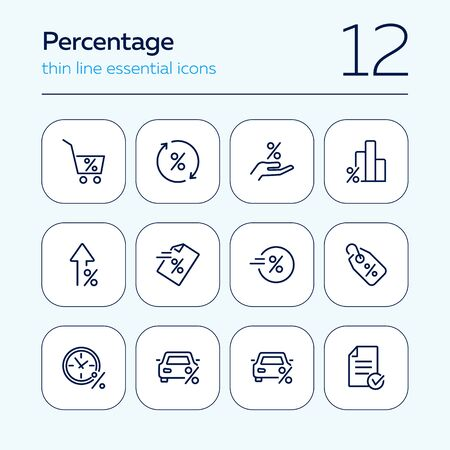 Percentage line icon set. Promotion, car, tag. Marketing concept. Can be used for topics like shopping, progress, sale