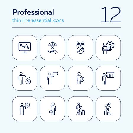 Professional line icon set. Banker, accountant, investor, seller. Business concept. Can be used for topics like finance, banking, career Stockfoto - 129955080